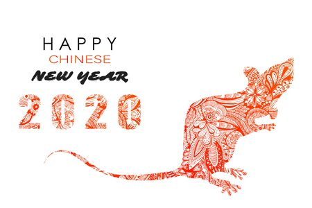 Graphic icon of Chinese Year of the Rat 2020 Vector illustration 向量圖像