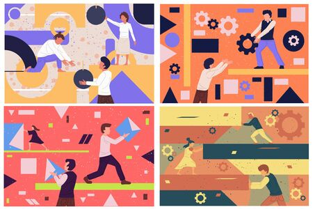 Vector business illustration, businessmen together build word teamwork, abstract design graphic, construction business project.