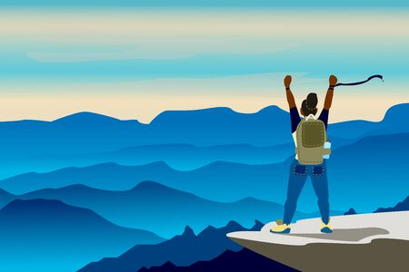 Web vector illustration on the theme of Climbing, Trekking, Hiking, Walking. Sports, outdoor recreation, adventures in nature, vacation. Wanderlust.