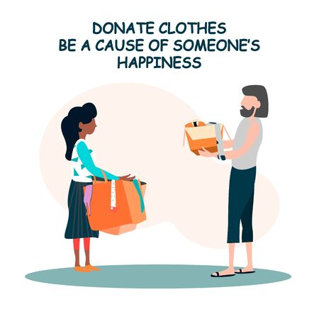 Donation clothes concept vector illustration for banners and templates.