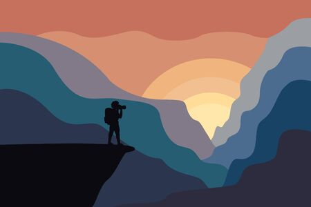 Web vector illustration on the theme of Climbing, Trekking, Hiking, Walking. Sports, outdoor recreation, adventures in nature, vacation. Girl with camera and backpack photo the sunset ot sunrise.