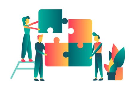 Vector concept of creative teamwork with puzzle and characters. For teamwork concept idea.
