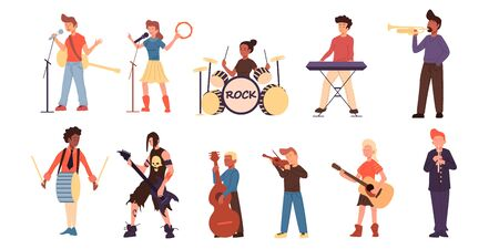 Cartoon teenage different musicians set. Isolated on white. Young musicians flat characters playing different instruments. Guitar, violin, drums, bass and etc.