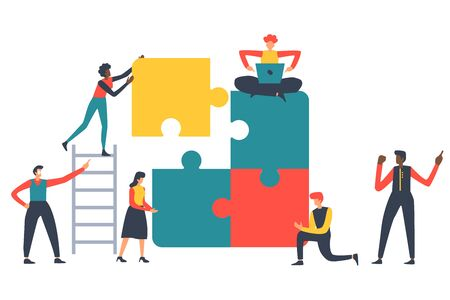 Puzzle teamwork concept vector illustration for business andfinance walpaper and brochure cover. Teambuilding design. Ilustrace