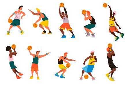 Set of basketball player, dunk, shoot, competition, match, hoop and more Vector illustration Stock fotó - 138468065