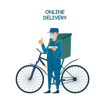 Poster concept for home delivery. Restaurant or supermarket delivering food at doorstep in quarantine. Sitting home and Order online food at anytime. Man with mask on bicycle delivering food with big bag.