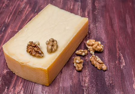 scamorza cheese: Smoked cheese and nuts Stock Photo
