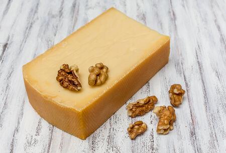 oscypek: Smoked cheese and nuts Stock Photo