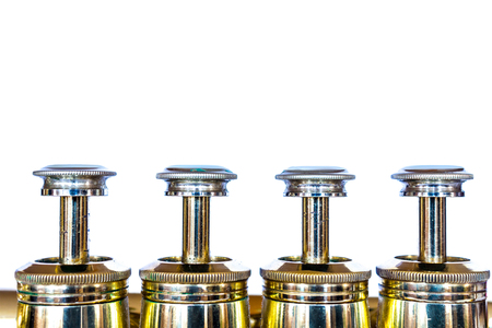 pistons: Trumpet pistons on white Stock Photo