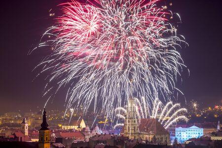 cluj: Fireworks show in Cluj Napoca, Romania