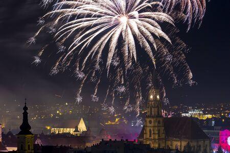 napoca: Fireworks show in Cluj Napoca, Romania