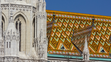 matthias church: Colorful Zsolnay tiles on the roof of Matthias Church in Budapest, Hungary Stock Photo