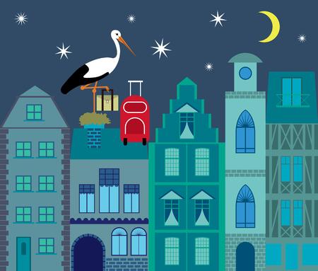 wading: Stork flat design illustration