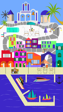 port wine: Greek island flat design illustration