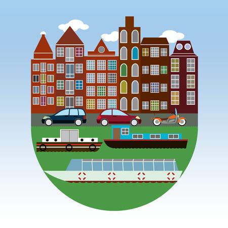 flat: Amsterdam flat design illustration