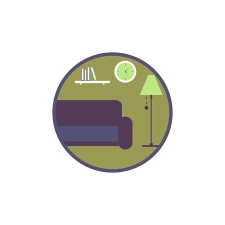living room design: Living room flat design icon