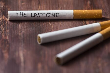 quit smoking: The last cigarette . Quit smoking concept