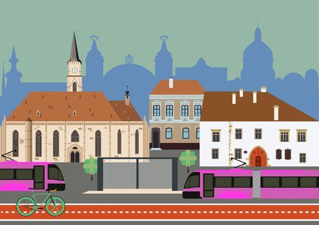Urban transportation trams and bicycle Illustration