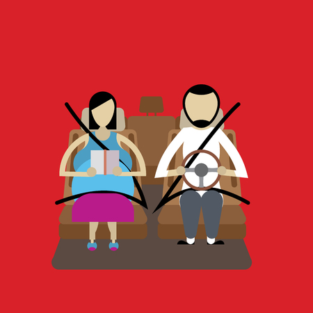 Pregnant woman and husband driving with safety belt vector illustration