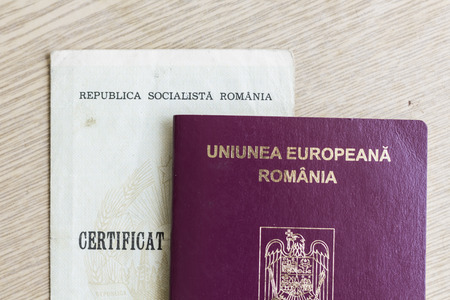 Romanian EU Passport And Socialist Republic Birth Certificate Stock ...
