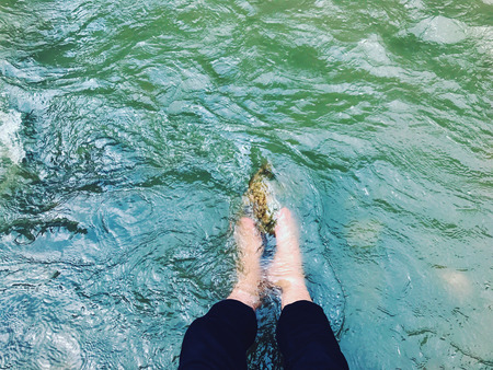 Cooling feet in a cold mountain river