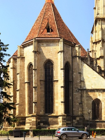 Cluj Napoca, Romania - July 20, 2017: View of the St. Michaels Church in Cluj Napoca, Romania 新聞圖片