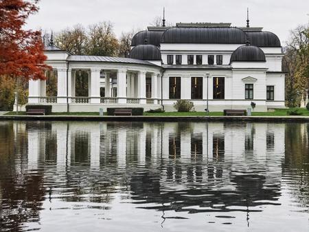 Cluj Napoca, Romania - November 2, 2017: Cluj Napoca Casino reflected in the pond