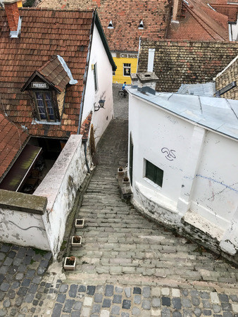 December 18, 2016 - Szentendre, Hungary: Old cobblestone stairs and buildings in Szentendre, close to Budapest, Hungary