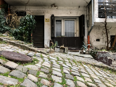 Cobblestone street in Budapest, Hungary Standard-Bild