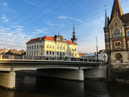 Bridge and architecture in Cluj Napoca, Romania