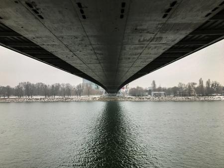 Under the bridge in Bratislava, Slovakia