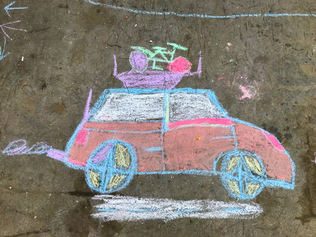Chalk drawing of an automobile going on vacation Stock Photo