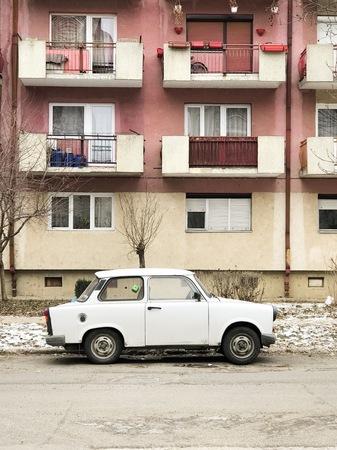 Satu Mare, Romania - January 8, 2017: Trabant parked in front of flats in Satu Mare, Romania