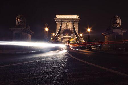 Long exposure shot of the Chain Bridge in Budapest, Hungary