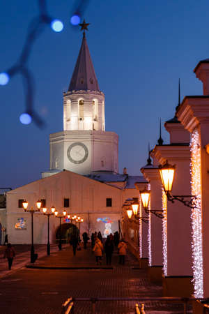 Spasskaya tower. Tower above the entrance to Kazan Kremlin. Russia