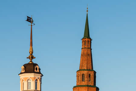 Falling tower of Syuyumbike in the Kazan Kremlin, Republic of Tatarstan, Russia. The most familiar landmark in Kazan.