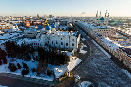 panoramic view of the Kul sharif mosque and the Annunciation sabor on the territory of the reserve of the Kazan Kremlin