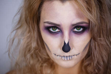 halloween bright make up. close up photo.