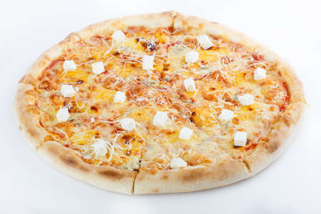 big italian pizza on the white background, isolated. menu photo Stock fotó