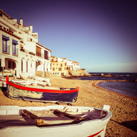 Square composition of Costa Brava with vintage colors. Stock Photo