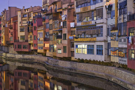 Picturesque view of the great Onyar river houses, in Girona