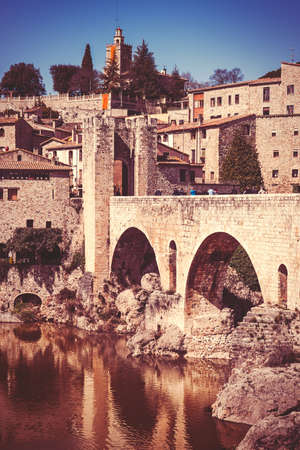 jewish houses: View of Besalu, small and nice medieval village in Girona. Vintage edition.