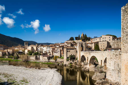 View of Besalu, small and nice medieval village in Girona. Stock Photo