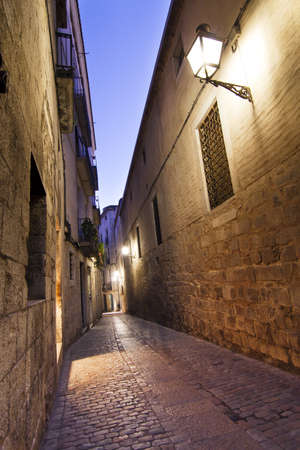 View of street of Girona jewish neighborhood, one of the best conserved jewish quarter of Spain.