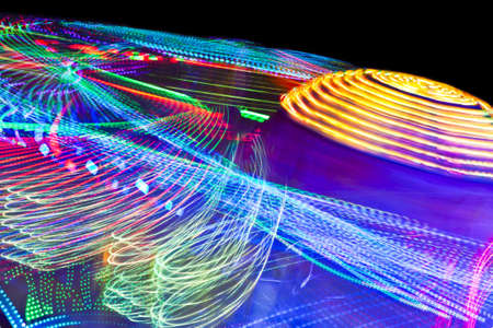 Abstract point of view of a motion fairground. Stock Photo