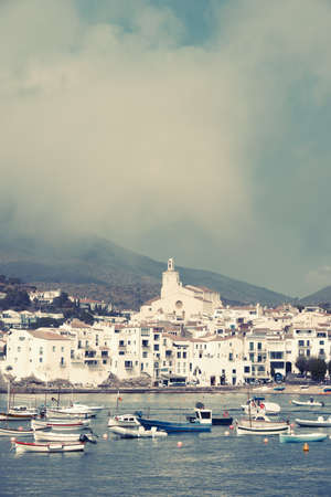 View of the picturesque village of Cadaques with a vintage colors, digitally edited.