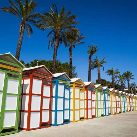 Row of summer beach dressing rooms in Costa Brava, sAgaro beach. Girona.