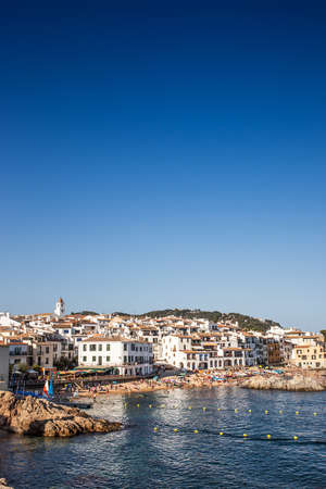 Vertical view of this little fishers village in summertime called Calella de Palafrugell in Costa Brava. Girona.
