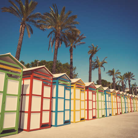 Row of summer beach cabins. Vintage special edition.