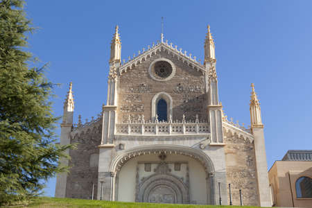 View of the north face of San Jeronimo Real Church, in front of Prado Museum, Madrid.
